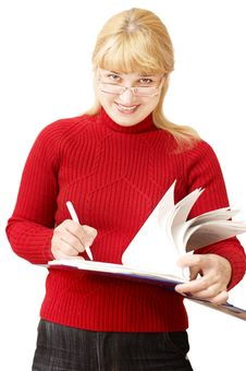 Free Pretty Woman Makes Notes Royalty Free Stock Photo - 8389615