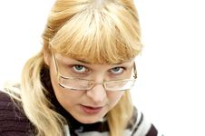 Free Woman Looking From Under Glasses Stock Photography - 8389622
