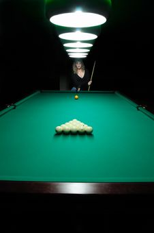 Free The Girl Plays Billiards Stock Photo - 8389780