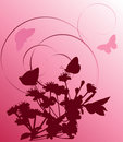 Free Dark Pink Cherry Tree And Butterflies Royalty Free Stock Photography - 8391857