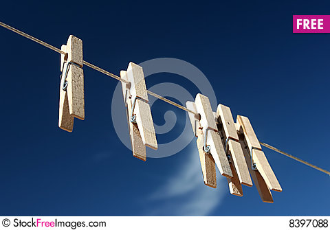 CLOTHES PINS Stock Photo