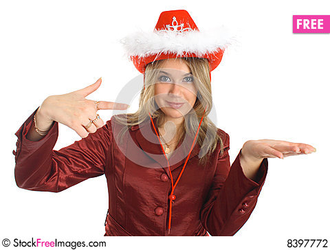 Free Girl In A Hat And Jacket Indicate, Isolated; Stock Photography - 8397772