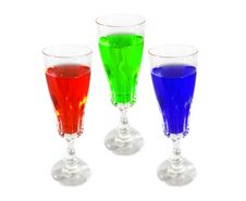 Wine Drink Glasses Colored Stock Photos