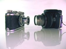 Old Film And Digital Photo Cameras Stock Photography