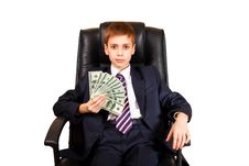 Young Chief Holding Dollars Royalty Free Stock Photo