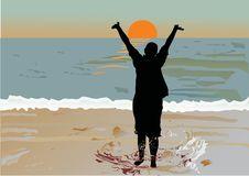 Free Girl Silhouette In Sea Stock Photo - 8391920