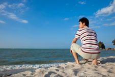 Young Man By The Beach Royalty Free Stock Images