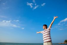 Free Young Man By The Beach Stock Image - 8392201