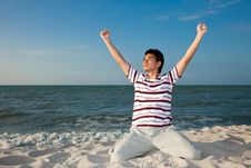 Free Young Man By The Beach Stock Image - 8392481