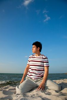Young Man By The Beach Stock Images