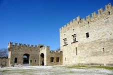 Exterior Of A Medieval Castle In Rhodes Island Royalty Free Stock Photo