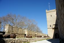 Old Canons In A Medieval Castle  Rhodes Stock Photo