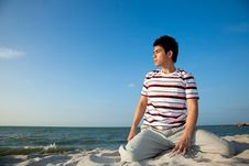 Young Man By The Beach Royalty Free Stock Image