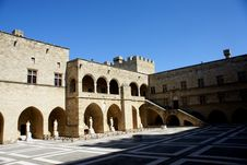 Interior Of A Medieval Castle In Rhodes Island Stock Photography