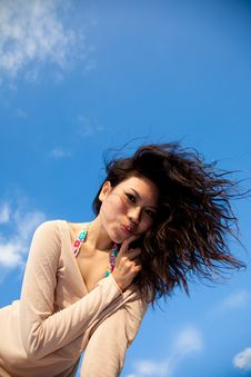 Free Happy Young Woman With Blue Sky Royalty Free Stock Images - 8392879
