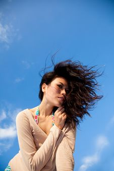 Free Happy Young Woman With Blue Sky Stock Image - 8392911