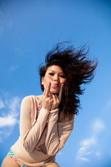 Free Happy Young Woman With Blue Sky Stock Photography - 8392952