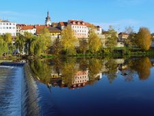 Free The Medieval Town Pisek On The River Otava Royalty Free Stock Photography - 8393647