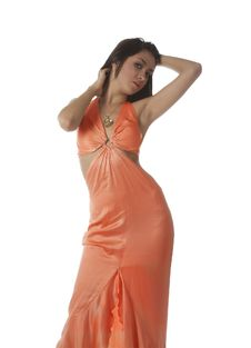 Free Young Girl  In Orange Dress Over White Stock Images - 8393804