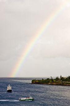 Free Two Ferries Under Rainbow Stock Photos - 8393923