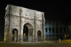 Free Arch Of Constantine And Colosseum Stock Image - 8393941