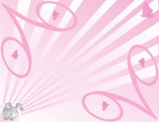 Bunny And Butterfly Background In Pink Royalty Free Stock Photography