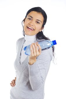 Woman Holding Bottle Royalty Free Stock Image
