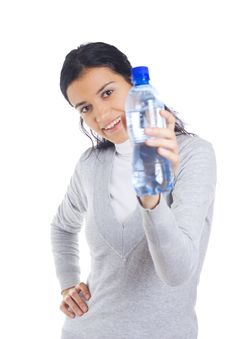 Woman Holding Bottle Royalty Free Stock Photography
