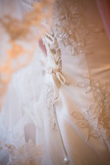 Free Lacing Of The Wedding Dress Stock Images - 8396494
