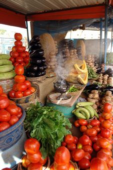 Vegetables And Incense Against The Flies Stock Images