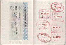 Hong Kong And China Passport Stamps Royalty Free Stock Photo