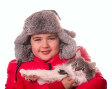 Free Boy And Cat Stock Images - 8397094