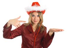Girl In A Hat And Jacket Indicate, Isolated; Stock Photography