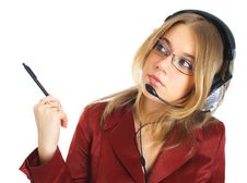 Free Girl In Glasses With Headset And Pen, Isolated Stock Photography - 8397792