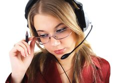 Girl With Headset And Pen, Isolated Stock Image