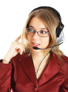 Free Friendly Support Girl With Headset, Isolated Stock Photos - 8397853