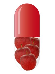 Free Red Capsule With Apples Royalty Free Stock Photos - 8399208