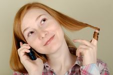 Free Woman Speaks On The Mobile Phone Royalty Free Stock Image - 8399836