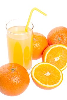 Orange And Juice In Glass Royalty Free Stock Photography