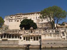 Rajput Style City Palace By Lake Pichola Stock Image
