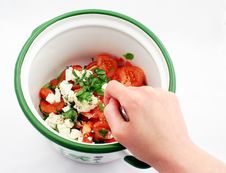 Free Starting To Mix A Salad Royalty Free Stock Photo - 841075