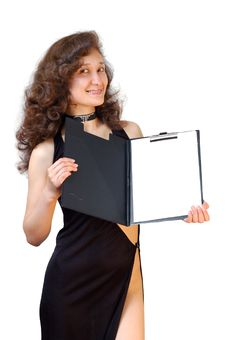 Business Woman Holding A File Folder Isolated Royalty Free Stock Photography