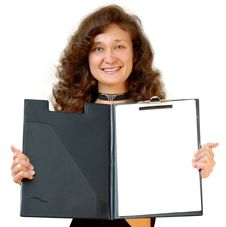 Business Woman Holding A File Folder Isolated Royalty Free Stock Image