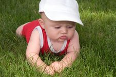 Free Baby In The Grass For The First Time Stock Photos - 847883
