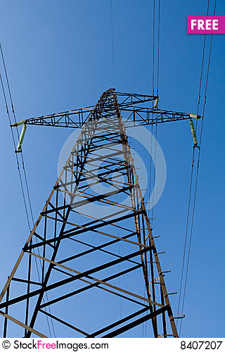 Free Power Line Poles Over Blue Sky Background Royalty Free Stock Photography - 8407207