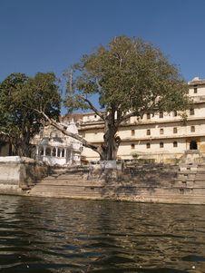 Rajput Style City Palace By Lake Pichola Stock Images
