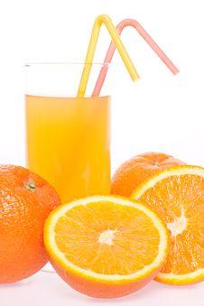 Orange And Juice In Glass Stock Photos