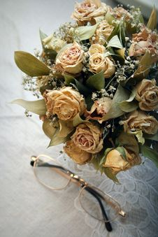 Dried Roses Bouquet Stock Photography