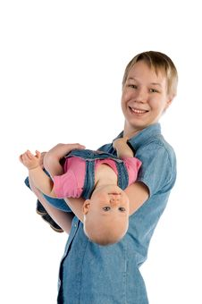 Mother Hold Daughter Head Over Heels Stock Images