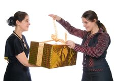 Free One Girl Make Present To Another Royalty Free Stock Photography - 8400677
